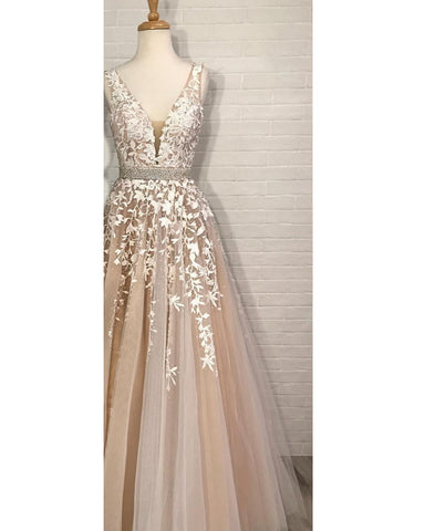 Image of Prom-Dresses-Long-Ball-Gowns-Quinceanera-Dresses-Champagne