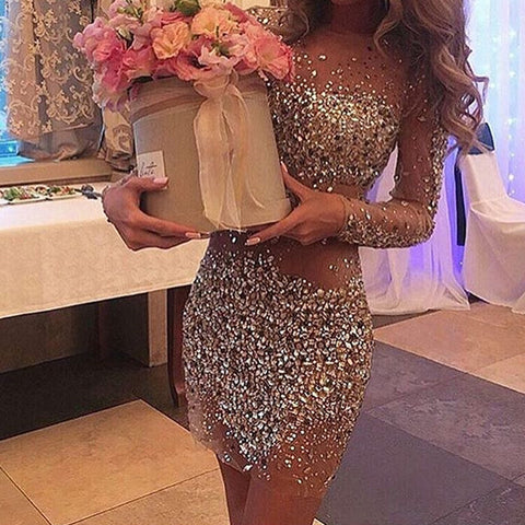 Image of Long Sleeves Homecoming Dresses Crystal Beaded 2017 See Through Prom Gowns