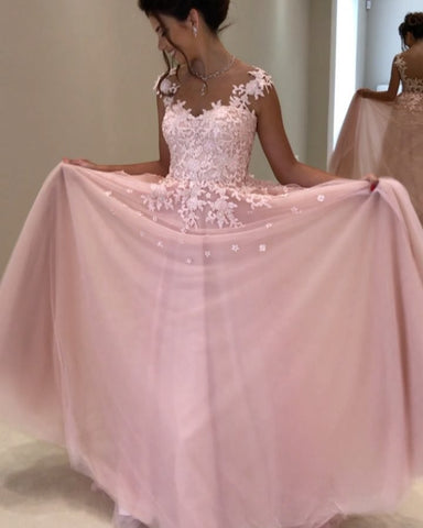 Elegant A Line Long Chiffon Prom Dresses Lace Appliques Evening Gowns