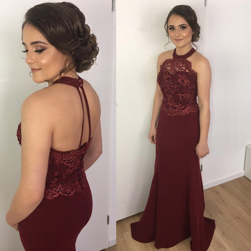 Elegant Lace Halter Long Mermaid Prom Dresses Burgundy Evening Gowns