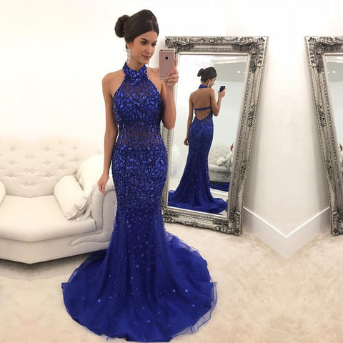 Image of Purple Crystal Beaded Halter Evening Dresses Mermaid