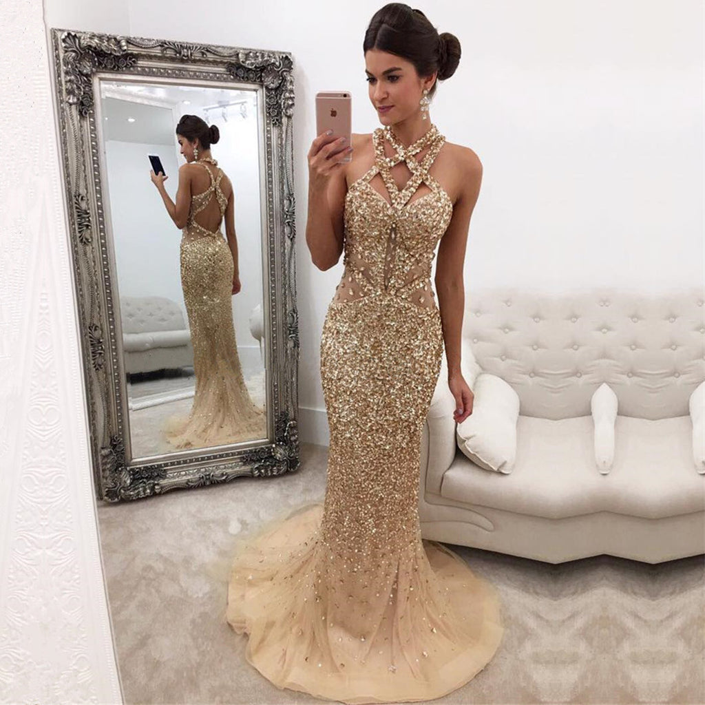 Luxury Crystal Beaded Cross Back Champagne Mermaid Prom Evening Dresses