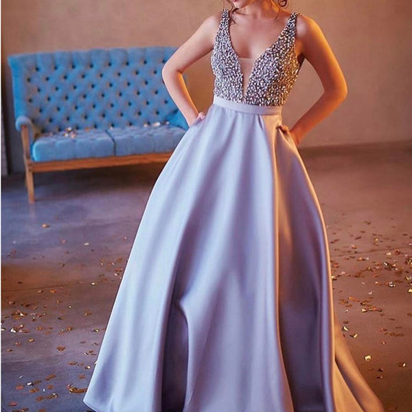 V Neck Long Satin Silver Prom Dresses Pearl Beaded