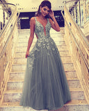 Lace Embroidery V-neck Tulle Prom Dresses Floor Length Evening Gowns