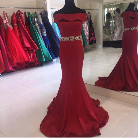 Image of Long Burgundy Satin Off The Shoulder Mermaid Prom Dress