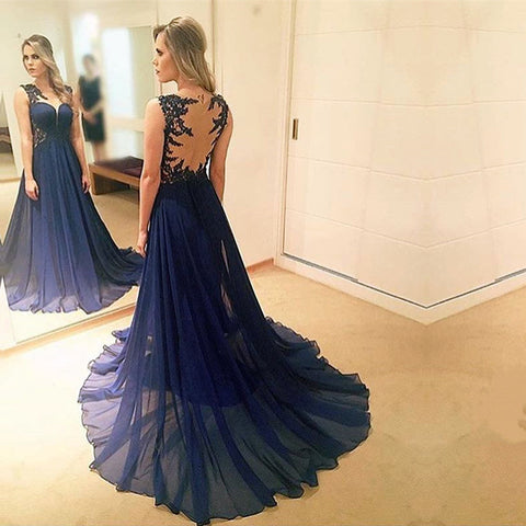 Image of elegant lace appliques chiffon navy blue evening gowns 2017 prom long dress