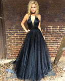 Navy Blue Prom Dress Long Halter Evening Gowns 2017 Sexy