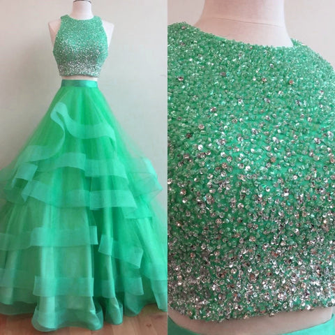 Image of New Arrival 2017 Sparkly Sequins Beaded Organza Layered Prom Dresses Two Piece