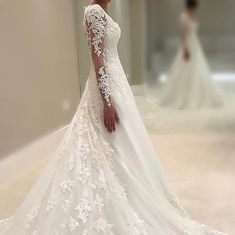 Vintage Lace Wedding Dresses Princess Long Sleeves Bridal Gowns