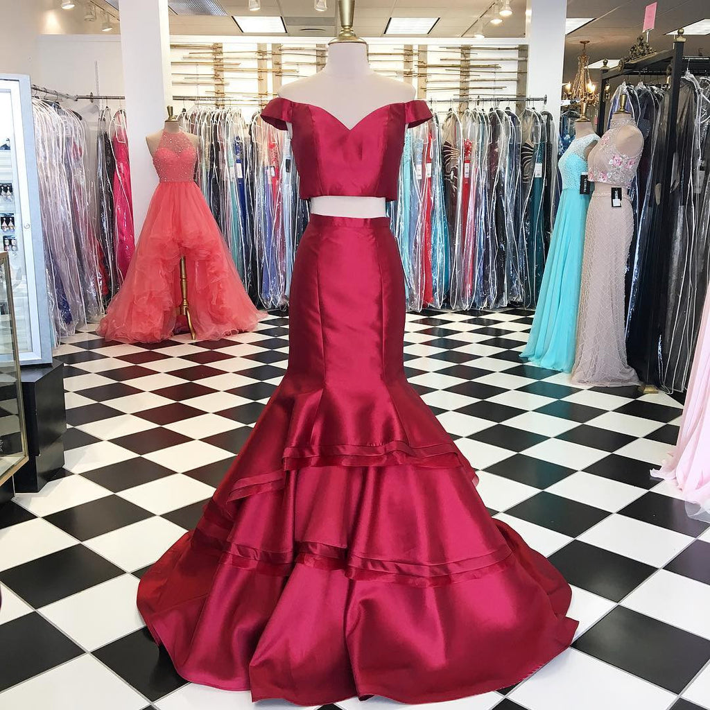off the shoulder burgundy evening dress mermaid new two piece prom dress