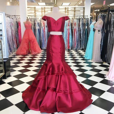 Image of off the shoulder burgundy evening dress mermaid new two piece prom dress