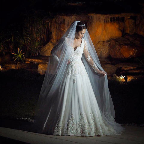 Image of Vintage Lace Wedding Dresses Princess Long Sleeves Bridal Gowns