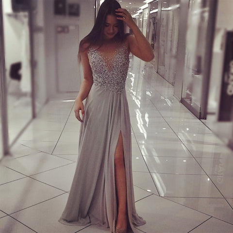 Image of Long Chiffon Slit Prom Evening Dresses Pearl Beaded