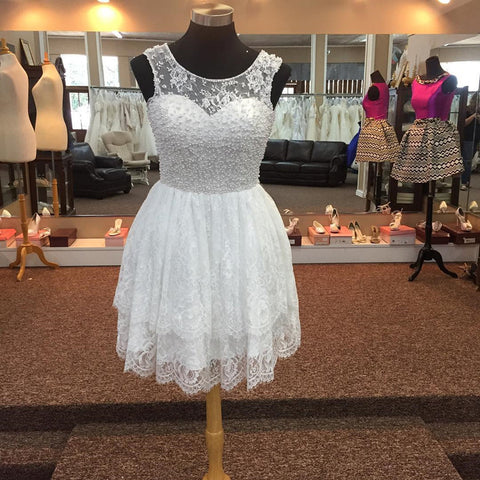 Image of Elegant Pearl Beading White Lace Homecoming Dresses