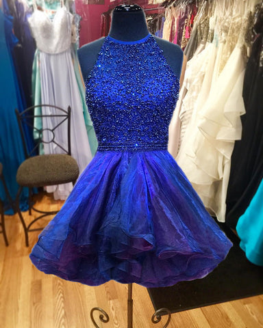 Image of ombre ruffles homecoming dresses beaded halter prom gowns