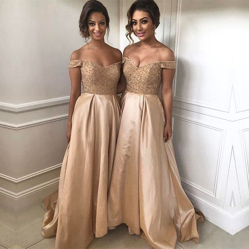 Gold Sequins Beads V Neck Long Satin Bridesmaid