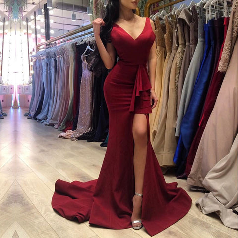 Image of Sexy V Neck Long Slit Burgundy Prom Dresses Mermaid 2017