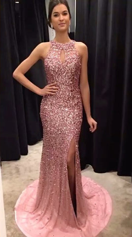 Image of Champagne Crystal Beaded Mermaid Prom Dresses Halter Evening Gowns