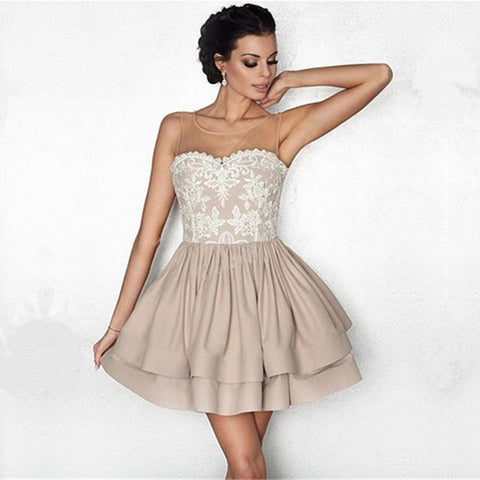 Image of White Lace Appliques Nude Satin Ruffle Homecoming Dresses 2018