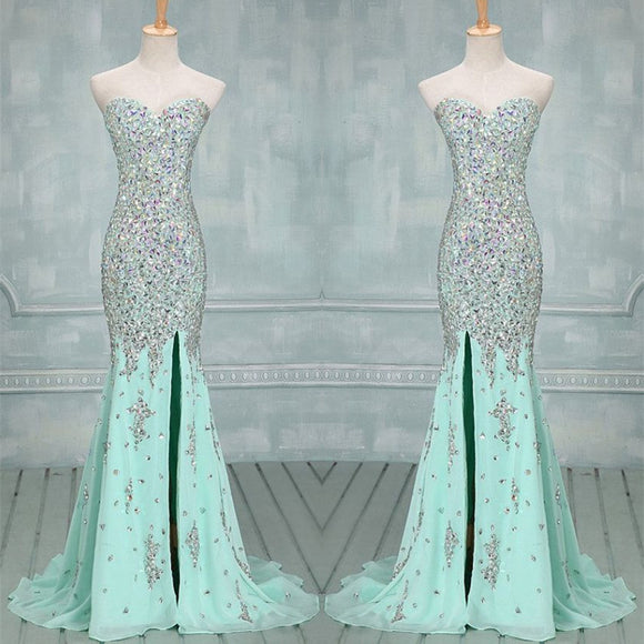 Fully Crystal Beading Sweetheart Chiffon Evening Dresses With Leg Slit