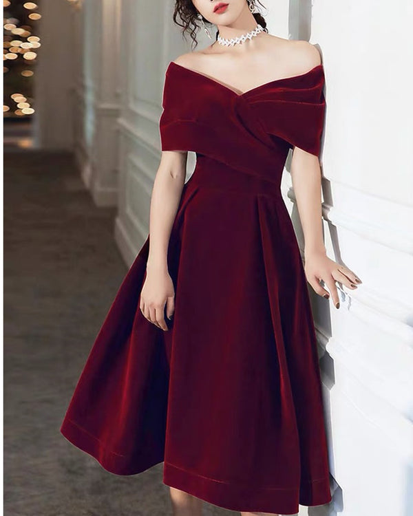 Velvet Midi Bridesmaid Dresses Off The Shoulder
