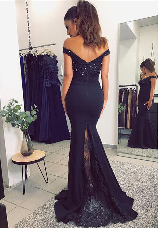 Sexy Off The Shoulder Long Mermaid Prom Dresses 2018 Lace