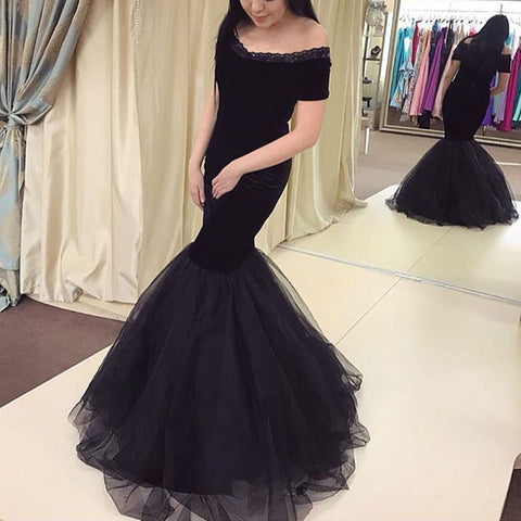 Image of Sexy Off The Shoulder Black Tulle Mermaid Evening Dresses 2018