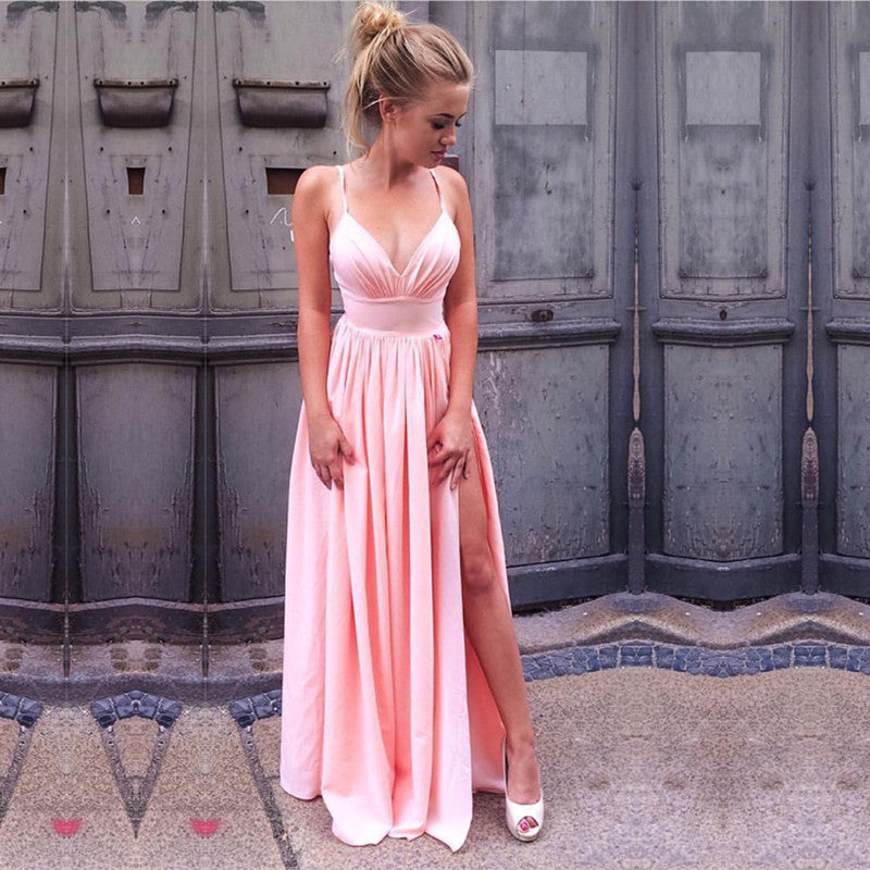 Sexy V-neck Long Pink Satin Prom Dresses With Leg Split