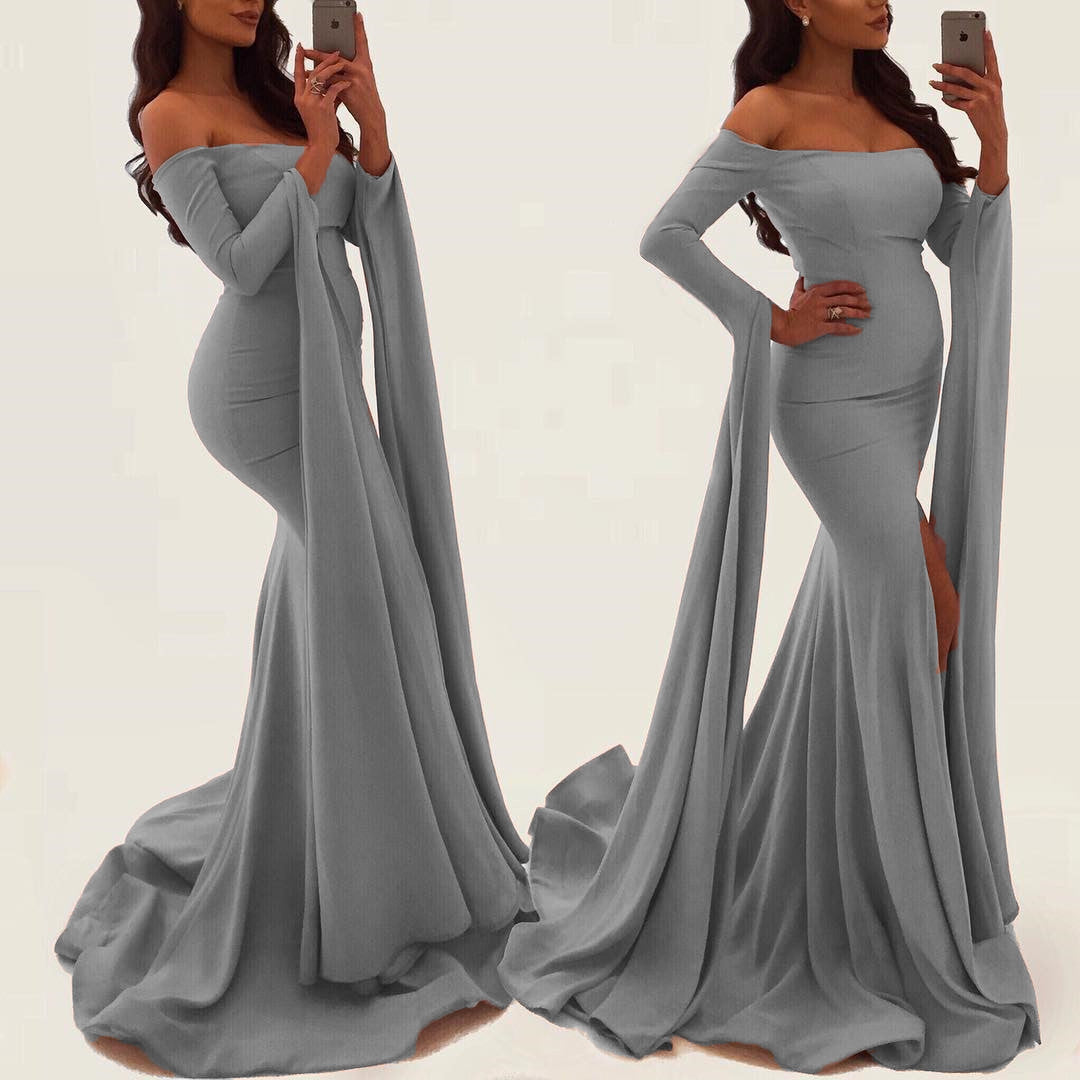 Sexy Off Shoulder Long Sleeves Mermaid Evening Gowns 2018