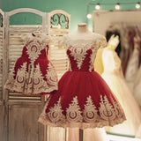 Vintage 1950s Style Swing Party Dress Gold Lace Appliques