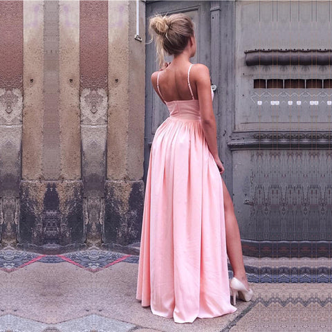Image of Sexy V-neck Long Pink Satin Prom Dresses With Leg Split