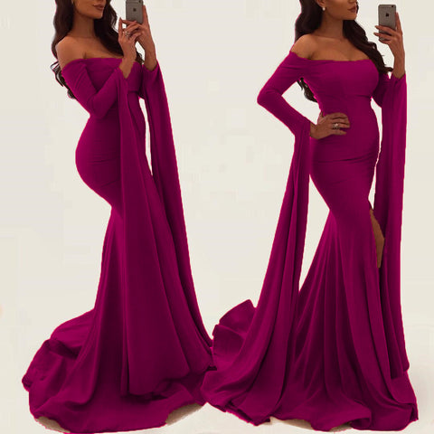 Image of Sexy Off Shoulder Long Sleeves Mermaid Evening Gowns 2018 Prom Dress