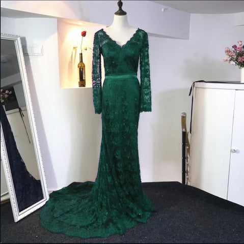 Image of Navy Blue Lace Long Sleeves Evening Gowns Elegant Mermaid Prom Dresses