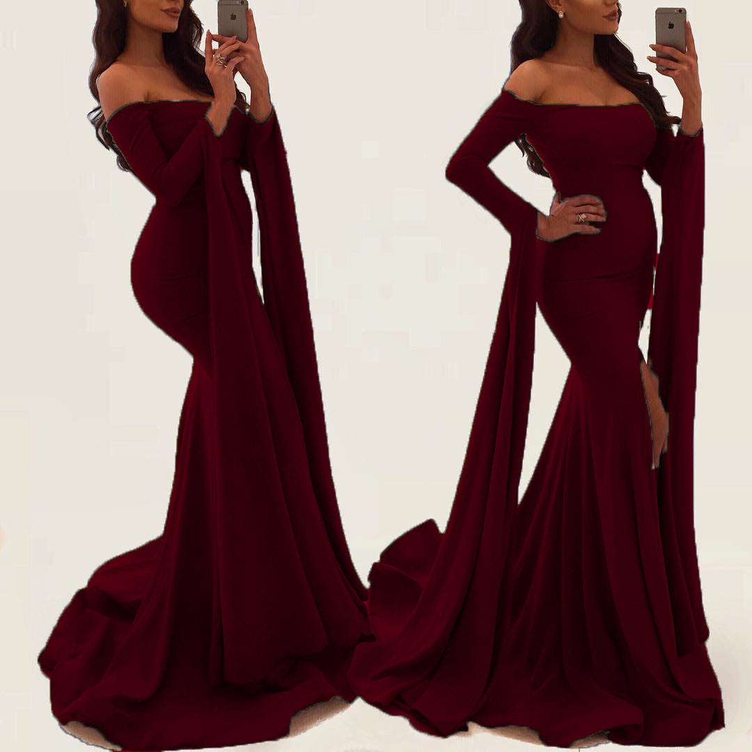 388c300f5cd ... Sexy Off Shoulder Long Sleeves Mermaid Evening Gowns 2018 Prom Dress ...