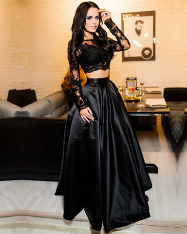 Two Piece Prom Dresses Black Lace Crop Top