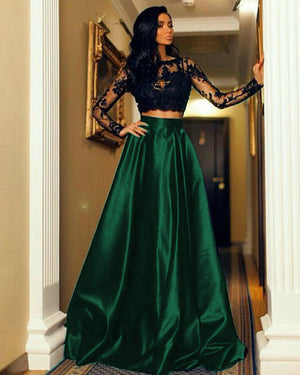Two Piece Prom Dresses Long Sleeve