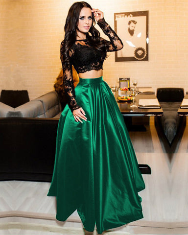 Dark Green Prom Dresses Two Piece