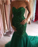 Crystal-Prom-Dresses-2019-Green-Mermaid-Evening-Gowns-Luxurious-Beaded