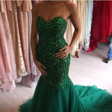 2019 Mermaid Crystal Beaded Evening Dresses Sweetheart Prom Gowns