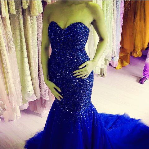 Image of Royal-Blue-Formal-Dresses-Long-Mermaid-Prom-Evening-Dresses-2019-Crystal