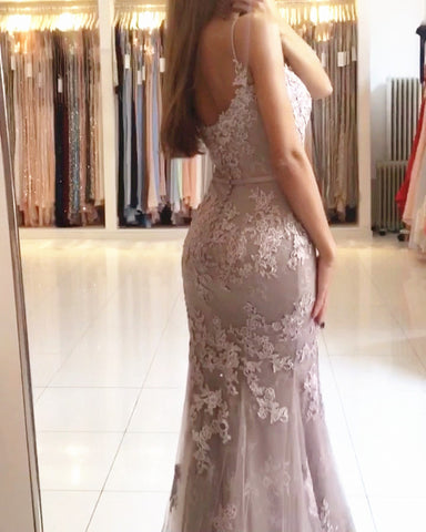 Gray Lace Mermaid Prom Dresses