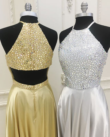 Image of Crystal Beaded Halter Long Satin Backless Prom Dresses 2018