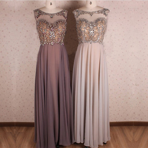 Image of Crystal Beaded Scoop Neck Long Chiffon Floor Length Evening Gowns