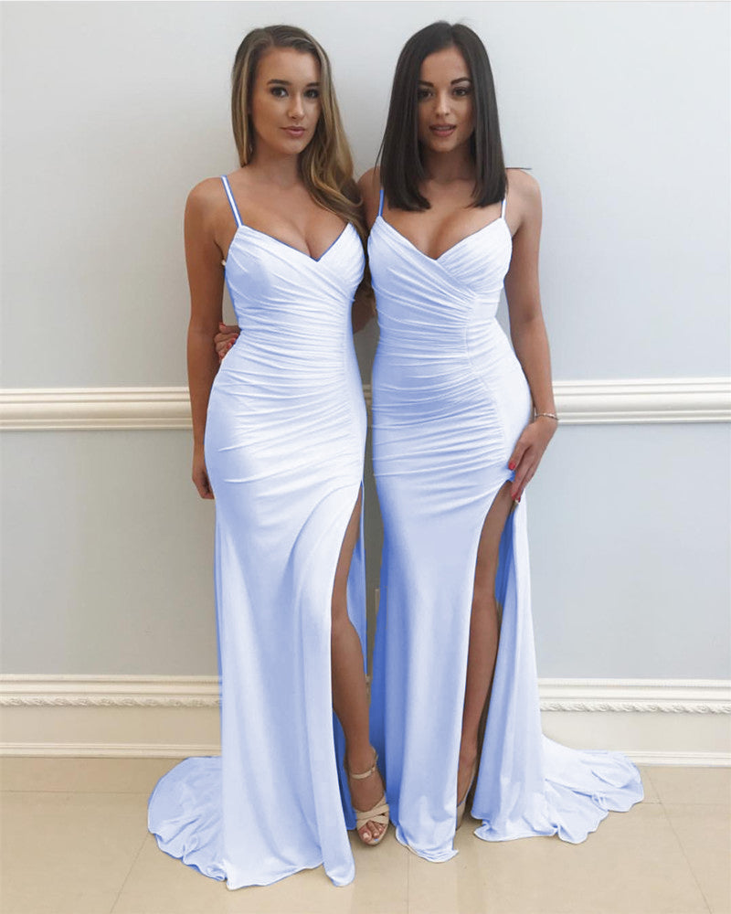 Spaghetti Straps V Neck Long Slit Mermaid Prom Dresses 2018