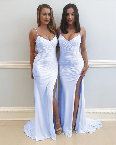 Image of Spaghetti Straps V Neck Long Slit Mermaid Prom Dresses 2018