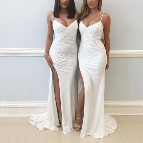 Image of white jersey mermaid prom dress leg slit