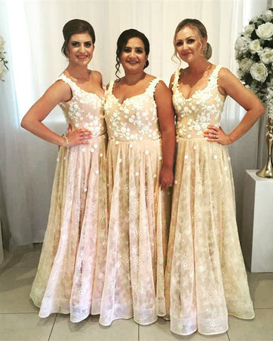 Image of Champagne Lace Bridesmaid Dresses Long