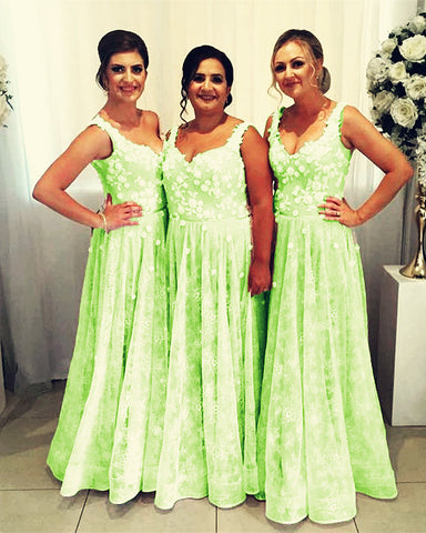 Image of Sage Green Bridesmaid Dresses Long Lace Gown