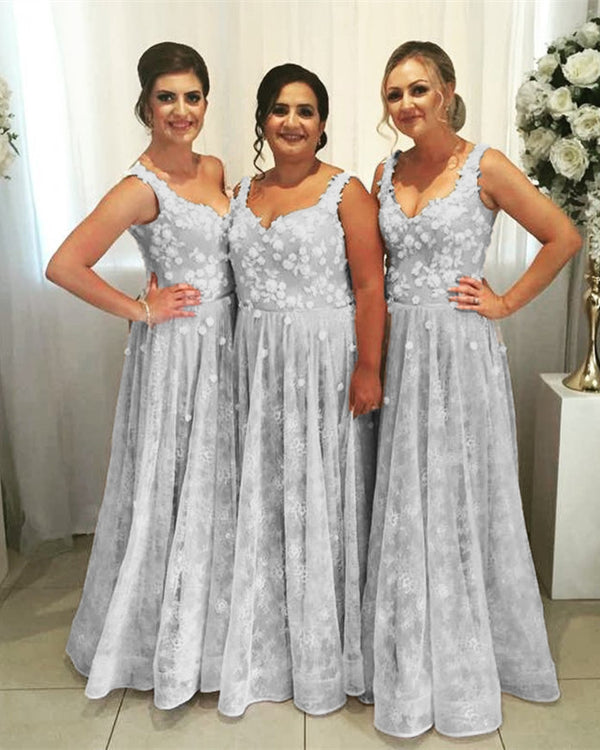 Bohemian Bridesmaid Dresses Silver Lace Gown