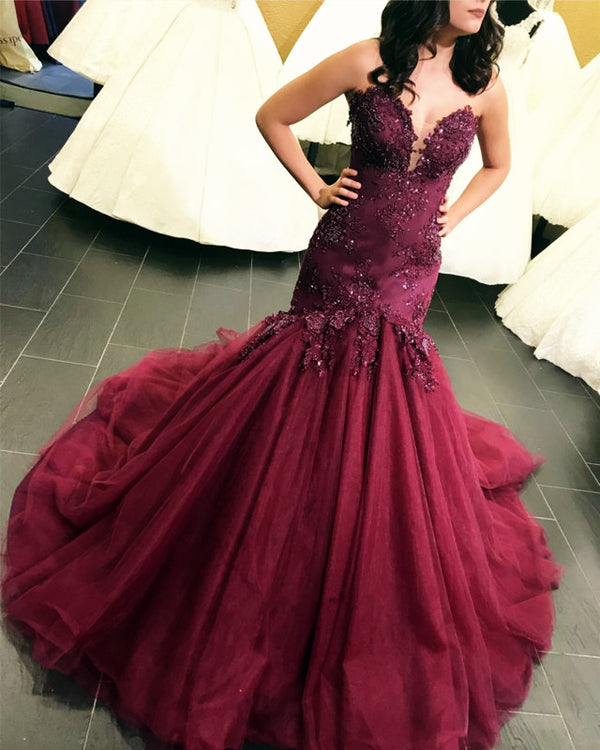 Lace Embroidery Sweetheart Bodice Corset Mermaid Evening Dresses